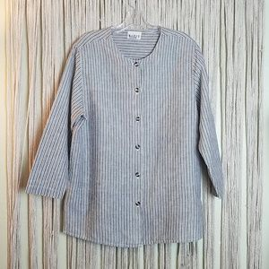 MixIt Button Down Linen Lagenlook Jacket/Tunic/Top